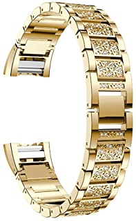 for Fitbit Charge 2 Band, Aottom Fitbit Charge 2 Bands Women Men Stainless Steel Rhinestone Bling Glitter Band Metal Brace...
