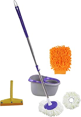 Frestol Plastic Mop +2 Refill+Rod + Wiper + Glove - Grey/Purple