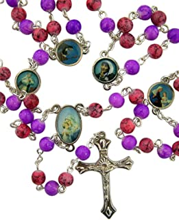 Glass Prayer Bead Saint Rosary Necklace for Kids, 21 1/2 Inch