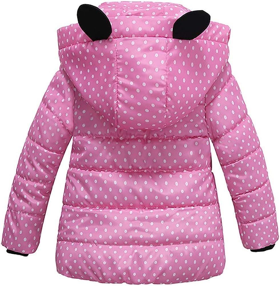 IWEMEK Kids Girls Padded Puffer Coat Polka Dot Mouse Ear Hooded Jacket Winter Warm Parka Coats Long Sleeve Windproof Outwear Clothes 3-5 Years