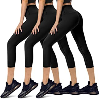 YOLIX 3 Pack High Waisted Capri Leggings for Women - Buttery Soft Workout Running Yoga Pants