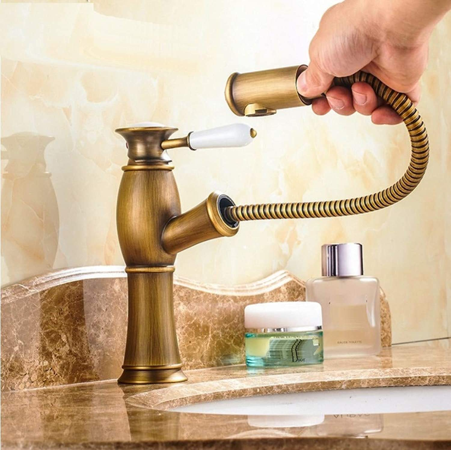 Dwthh Pull Out Basin Sink Faucets Mixer Tap Brass Bathroom Antique Bronze Faucet Pull Out Modern Bath Black gold