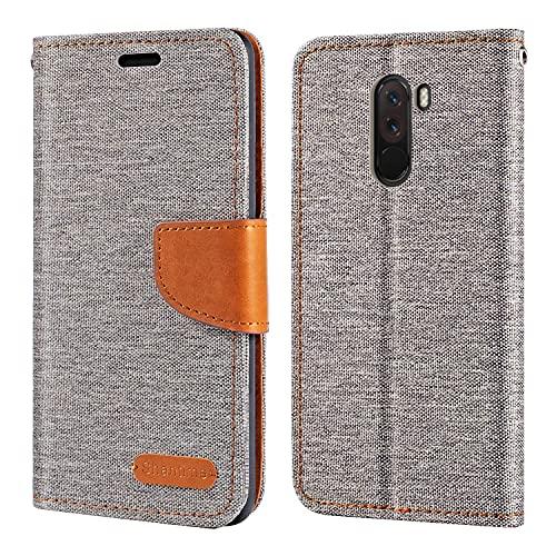 Xiaomi Pocophone F1 Hülle, Oxford Leder Wallet Hülle mit Soft TPU Back Cover Magnet Flip Hülle für Xiaomi Poco F1