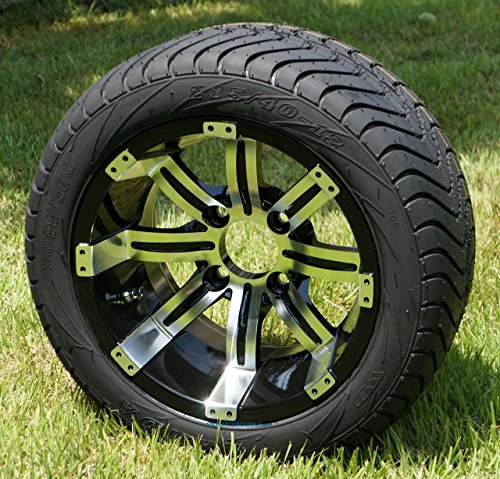 "12"" TEMPEST Black/Machined Golf Cart Wheels and 215/40-12 DOT Golf Cart Tires - Set of 4"