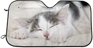 CARHDFRI Sleepy Kitty Cute Automotive Windshield Sunshades 27.5 X 51 Inch UV and Sun Protection Cover Auto Sun Shade Keep Cool for Car SUV Truck,Windshield Sunshades