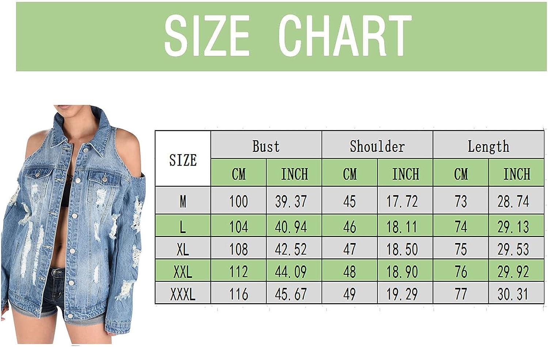Hemlock Women Cold Shoulder Jean Jackets Distressed Short Denim Jean Jacket Coat with Pockets Autumn Outwear