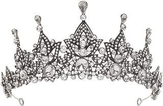 Baroque Vintage Leaf Rhinestone Bridal Tiara Crown Black Crystal Diadem Veil Tiaras Wedding Hair Accessories Headpieces