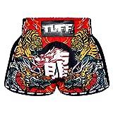 TUFF Sport Retro Muay Thai Boxing Shorts Martial Arts Clothing Training Gym Trunks Classic Slim Cut, Tuf-mrs204-red, XX-Large