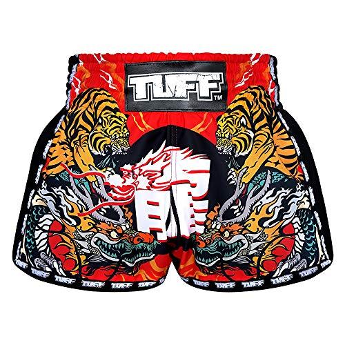 TUFF Sport Retro Muay Thai Boxing Shorts Martial Arts Clothing Training Gym Trunks Classic Slim Cut, Tuf-mrs204-red, Large