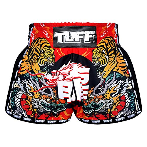 TUFF Sport Retro Muay Thai Boxing Shorts Martial Arts Clothing Training Gym Trunks Classic Slim Cut, Tuf-mrs204-red, Small