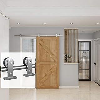 JUBEST Classic Top Mount Stainless Steel Barn Door Hardware Kits for Wooden Doors Flat Track Sliding Door Hardware