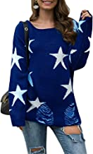 WenWenXiaoPu Women's Five-Pointed Star Printed Knit Pullover Round Neck Long-Sleeved Sweater Sweatshirt