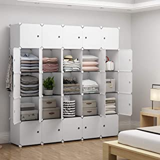 YOZO Modular Closet Portable Wardrobe Dresser Teens Kids Chest Drawer Ployresin Clothes Storage Organizer Cube Shelving Unit Multifunction Toy Cabinet Bookshelf DIY Furniture, White, 25 Cubes
