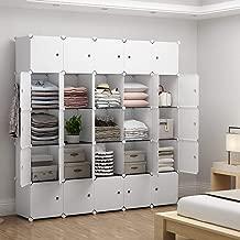 YOZO Modular Closet Portable Wardrobe Dresser Teens Kids Chest Drawer Ployresin Clothes Storage Organizer Cube Shelving Unit Multifunction Toy Cabinet Bookshelf DIY Furniture, White, 25 Cubes