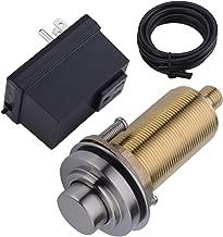 SINKINGDOM SinkTop Air Switch Kit (Long Full Brass Button) for Garbage Disposal, Cordless (Brushed Nickel)