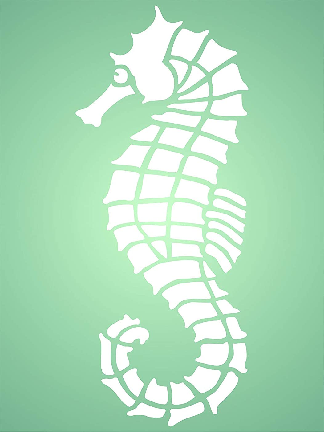 """Seahorse Stencil - (size 3""""w x 7""""h) Reusable Wall Stencils for Painting - Best Quality Wall Art Décor Ideas - Use on Walls, Floors, Fabrics, Glass, Wood, Terracotta, and More…"""