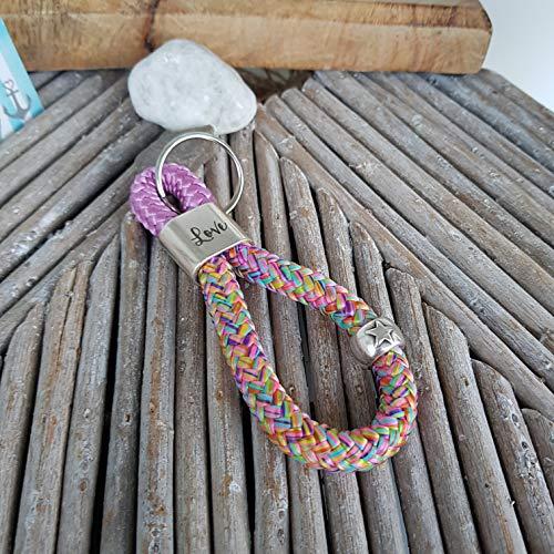 Schlüsselanhänger Segelseil - Kletterseil, Schlüsselband, Glaube Liebe Hoffnung Anker maritim segelseil, handmade, Taschenbaumler, rosa, bunt