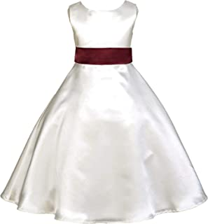Ivory A-Line Satin Toddler Flower Girl Dresses Special Occasions Dresses 821S