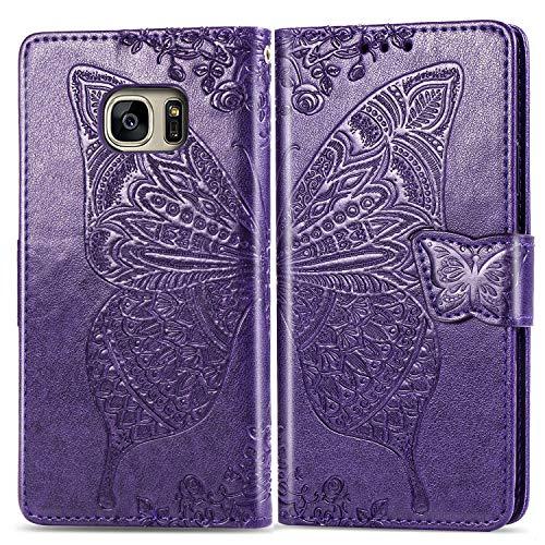 FEYYXI Handyhülle für Samsung Galaxy S7 Edge Hülle Leder Schutzhülle Brieftasche mit Kartenfach Stoßfest Handyhülle Case für Galaxy S7Edge - FESD20416 Violett