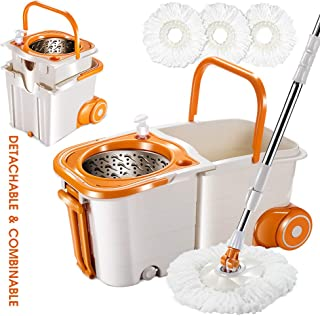 Spin Mop Detachable Wheel Bucket System with 3 Microfiber Mop Heads Stainless Steel Rolling Mop Set for Floor Cleaning Mas...