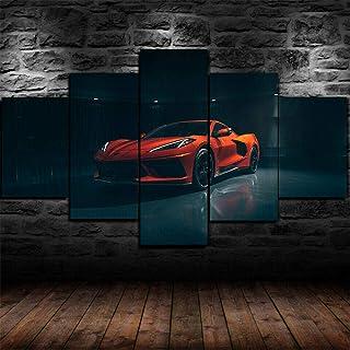 Chevrolet Corvette C8 Blue Super Car Canvas Framed 5 Pcs Wall Art Poster Decor