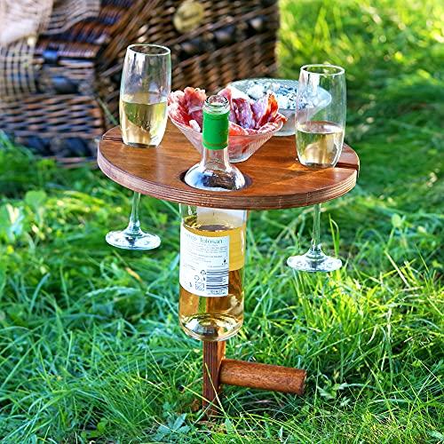 Weinregal Holz für Picknick mit klappbarer Platte, Picknicktisch mit bequemer Koffer, Wein Geschenk Idee, Campingtisch Outdoor Tisch, Camper, Wanderer, Angler sowie Outdoor begeisterte, Kreis-Schwarz