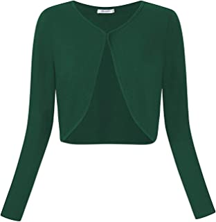 Comfortable Generous تنورة Womens Schrugs Vintage Bolero Long Sleeve Open Front Cardigans Cover Up for Dresses,Size:S,Colour:Pink (Color : Green, Size : L)