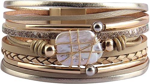 AZORA Womens Leather Cuff Bracelet Baroque Pearl Wrap Bracelets Gorgeous Gold Tube Bangle Handmade Wristbands Jewelry...