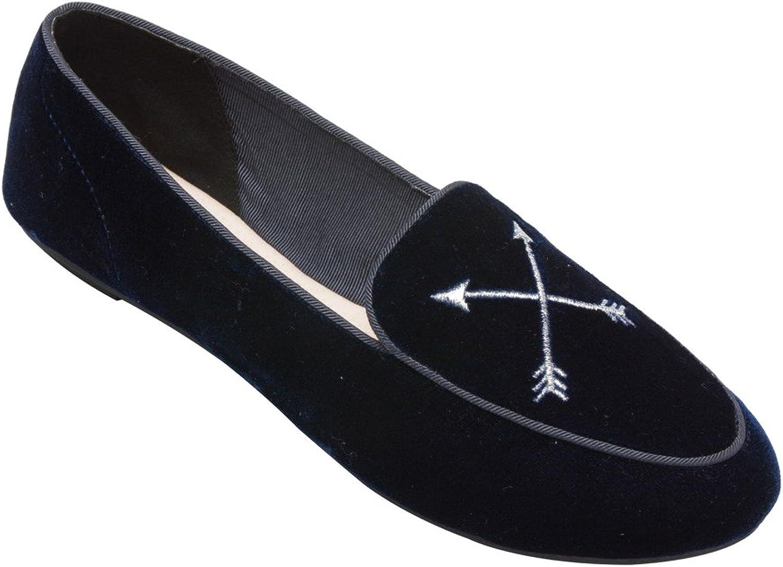 PIC PAY Maple - Women's Embroidered Mocassin Flat - Velvet Metallic Embellished Leather Loafer Navy Velvet 6M