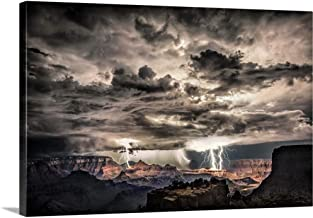 Lightning Storm at Night Over The Grand Canyon Canvas Wall Art Print, 36