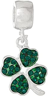 SEXY SPARKLES Four Leaf Clover with ed Rhinestones Charm Bead Compatible for Most European Snake Chain Bracelets