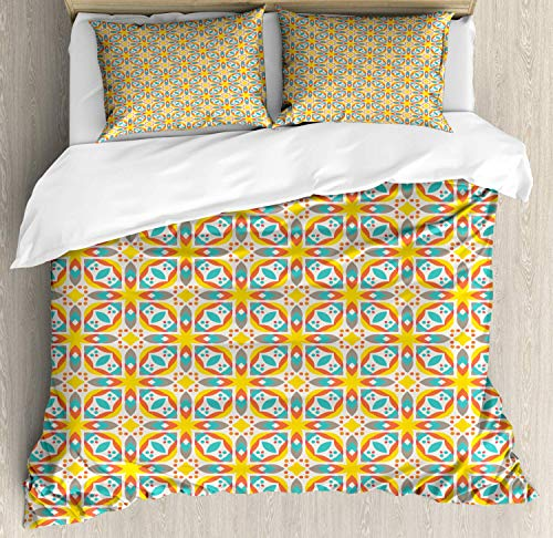 Scott397House Abstract Double Bedding Duvet Cover 3 Piece, Colorful Flowers Leaves Ornaments Illustration, Soft Bedding Protects Comforter with 1 Comforter Cover And 2 Pillow Case, Multicolor
