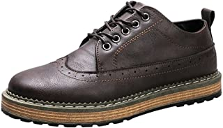 shangruiqi Men's Sport Casual Oxford Low-top Shoes up to Size 44EU Abrasion Resistant (Color : Brown, Size : 7 UK)
