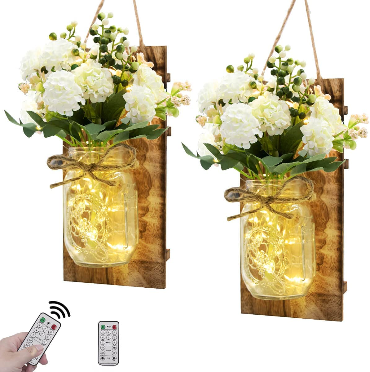 VIEFIN Farmhouse Mason Jar Sconces Wall Decor,Rustic Home Decor Wall Art Hanging Mason Jar Decor with Remote Control LED Fairy Lights and White Hydrangea for Home Decorations(2 Pack,White)