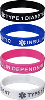 Max Petals Type 1 Diabetic Insulin Dependent Kid's Size Silicone Wristbands - Black, White, Blue and Pink (4 Pack)