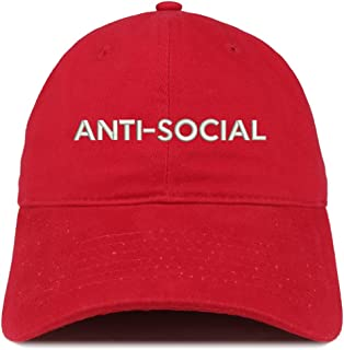 Trendy Apparel Shop Anti Social Embroidered Brushed Cotton Dad Hat Cap