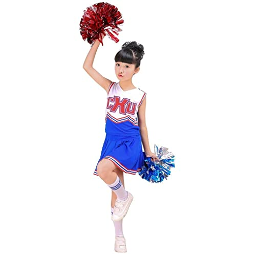 47d4ebd79c4e DREAMOWL Girls Red & Blue Cheerleader Costume Outfit match Pom Poms Socks Cheer  Fancy Dress