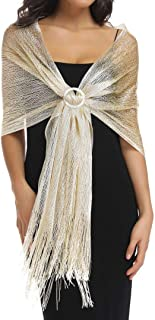 Sparkling Metallic Shawls and Wraps for Evening Party Dresses