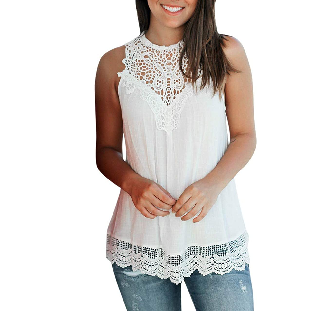 Sunhusing Women's Solid Color Pleated Lace Patchwork Vest Sleeveless Ruffled Crochet Tank Top Blouse