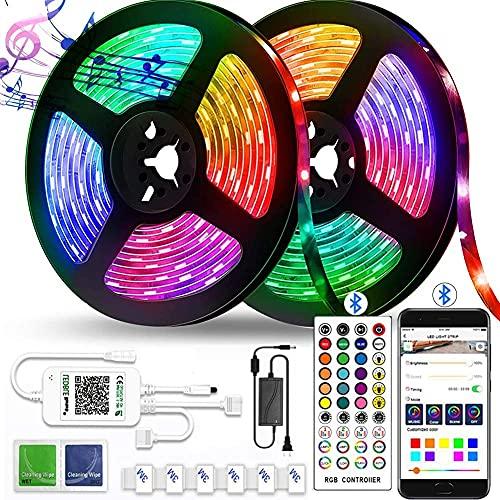 Tira de luces LED de 10 m que cambian de color, impermeable, Bluetooth, mando a distancia de 40 teclas, luces de sincronización de música, para fiestas de dormitorio, 2 rollos de 40 m