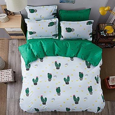 4pcs Children Beddingset Duvet Cover Set Duvet Cover Flatsheet Pillowcase BY Twin Full Queen King Size Dersert Cactus Design (King, Desert Cactus)