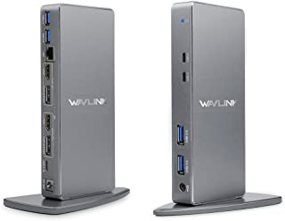 WAVLINK USB 3.0 & USB C Ultra HD/5K Universal Docking Station, Dual 4K Video Display with 2xDisplay Port, 2xHDMI, Gigabit Ethernet,4 USB 3.0 Port, 2 Type C-PD Function Not Supported