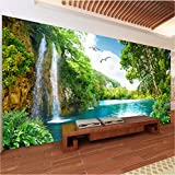 Wandbilder 3D Green Mountain Wasserfall Natur Landschaft Fototapete Wandtuch Wohnzimmer Wohnkultur Wandverkleidung 3 D,200X140Cm (78,74X55,12 In)