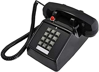 Old Style Retro Desk Phone Sangyn 1980'S Classic Vintage Single Landline Telephone with Push Button Numbers,Black