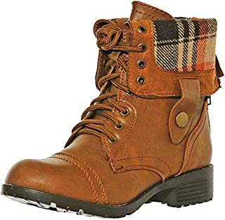 shoewhatever Women's Multicolor Mid Calf Lace up/Zip Military Combat Boot with Fold-Over Cuff