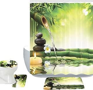 Amagical Zen Garden Theme Decor View Japanese Design 16 Piece Bathroom Mat Set Shower Curtain Set Relaxation Bamboos Candles Bath Mat Contour Mat Toilet Cover Shower Curtain 12 Hooks (Zen Garden)