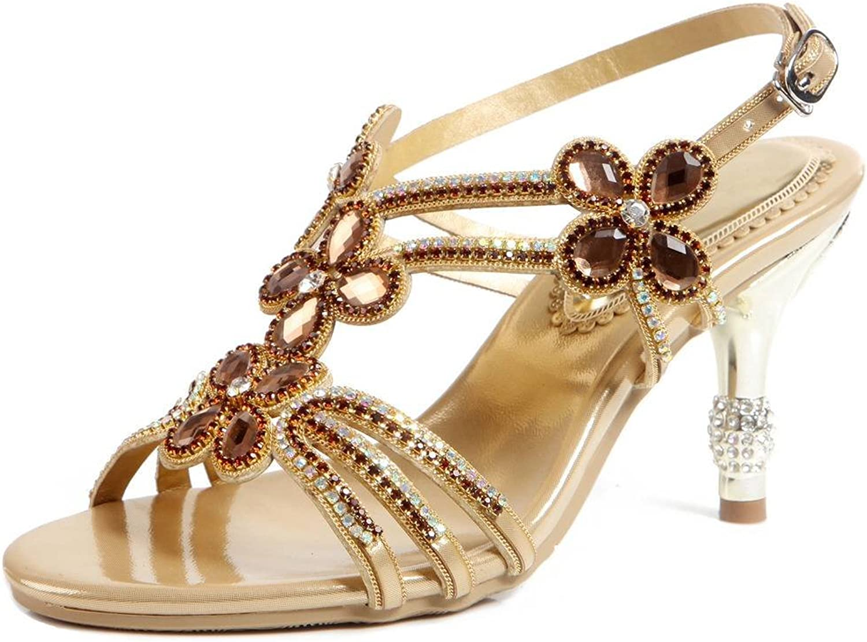 YooPrettyz Women Evening Heeled Sandals Studs Bride Bridesmaid Party Prom Ankle Strap Stiletto Heels