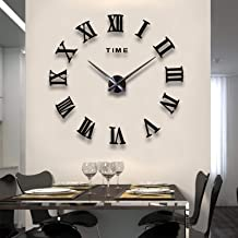 Mirror Surface 3D DIY Wall Clocks Modern Design Room Decorative Wall Watches (Black)
