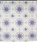 Sally Textiles Duschvorhang aus buntem Stoff: florales Medaillon, Geo-Design, Königsblau, Goldbraun, Silbergrau, Weiß