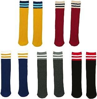 FYGOOD, Fygood–Lote de 5pares calcetines altos hasta la rodilla, niños, unisex, rayas rayas Talla:M(4-10ans 40cm)